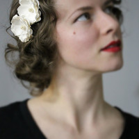 "Ivory Hair Flowers, Bride Hair Accessories, Vintage Wedding, Small Floral Hair Pins, Pearl Bridal Clip - ""Come to Me in Spring"""