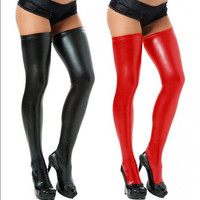 Lady Fashion Sexy Long Spandex Latex Rubber Stockings Thigh High Tights Hosiery