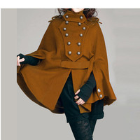 Camel cape cloak JS090 winter coat jackat douable by JulyS on Etsy