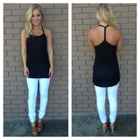 Black Braided T-Back Tank
