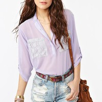Lace Pocket Blouse - Lilac in  Clothes Tops Shirts + Blouses at Nasty Gal