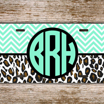 Monogram license plate, front car tag - Light mint green aqua with cheetah print - cute vanity license plate, monogrammed car tag (1164)