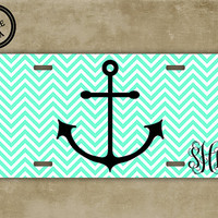Anchor monogrammed license plate - Mint green chevron - Nautical themed personalized car tag (9960)