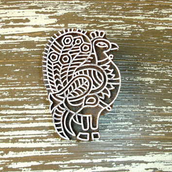Peacock Stamp: Hand Carved Wood Stamp, Clay Stamp, Bird, Indian Wooden Printing Block, Ceramic Tile Pottery Stamp, Bohemian India Decor