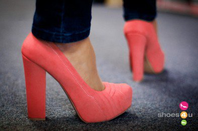 Qupid Trish-25 Coral Chunky Heel Platform Pump