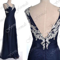 Dark Navy Prom Dresses, 2014 Prom Gown, Long Prom Dresses, V Neck Chiffon Navy Prom Dresses, Evening Gown, Bridesmaid Dresses, Formal Gown