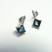 White Gold Mystic Topaz Diamond Earrings in Princess Cut, Blue Color | MaggieMays - Jewelry on ArtFire