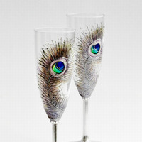 Silver Peacock Feathers Wedding Toasting by NevenaArtGlass on Etsy