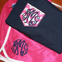 Women's monogrammed running gym shorts and matching chevron faux pocket
