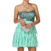 Claret- Mint Strapless Short Prom Dress