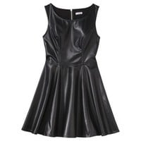 Xhilaration® Juniors Faux Leather Fit & Flare Dress - Black