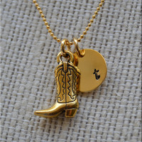 Personalized Cowboy Boot Necklace, Western Boot Necklace, Cowboy Jewelry, Initial charm necklace, cowgirl jewelry, monogram cowgirl necklace
