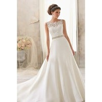 Elegant Sleeveless Boat Neckline Grenadine and Lace Wedding Dress