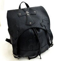 Unisex Embossed Studded Cross Rivets Shoulder Bag Backpack Handbag