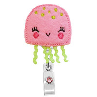 Cute Jelly Fish (Pink)-Name Badge Holder-Nurses Badge Holder-Cute Badge Reels - Unique ID Badge Holder - RN Badge Reel