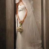 Draped Charmeuse Halter with Net Skirt and Corsage - David's Bridal