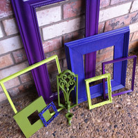 Home Decor Lime and Purple Vintage Frames and Sconce by FeFiFoFun