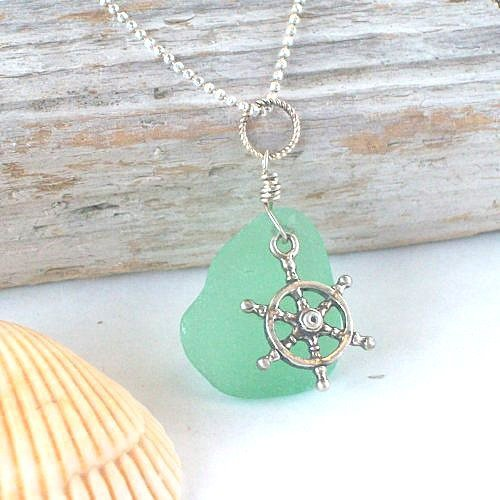 Light Green Sea Glass Pendant Necklace with Nautical Charm | FishPrincessDesigns - Jewelry on ArtFire