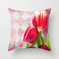 Harlequin print, tulips in hot pink, cream Throw Pillow by Tina Lavoie's Glimmersmith