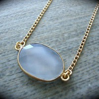 Yogibead 10k Vermeil Gold Grey Agate Druzy Gem Necklace | yogibead - Jewelry on ArtFire