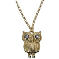 Crystal Eyed Owl Short Necklace - Gold