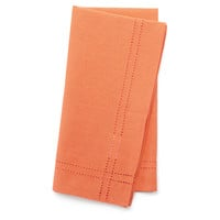 S/4 Heirloom Hemstitch Napkins, Coral