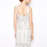 Frock and Frill Deco Embellished Dress with Cut Out Back