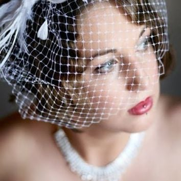 Bridal Hair Feather Fascinator and Birdcage Veil Set - LOVINA VIVA | yjdesign - Wedding on ArtFire
