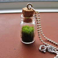 Moss TERRARIUM Pendant Necklace Terrarium 925 by NaturalWoodland