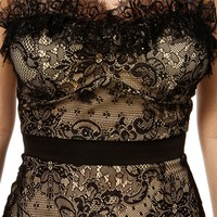 NudeBlack Lace Strapless Dress