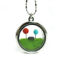 Terrarium Dr Seuss Inspired Lorax Locket, Red and Teal Truffula Tree on Green Grass with Unless Rock Needle Felted
