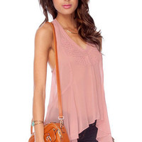 Show Me the Rope Detailed Tank Top in Dusty Rose :: tobi