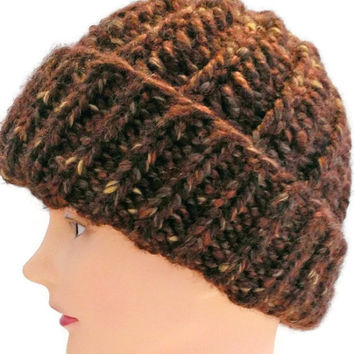 Handmade Brown and Gold Warm Winter Hat, Brown and Gold Snow Hat, Brown and Gold Beret, Brown and Gold Warm Hat, Brown and Gold Winter Hat
