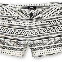 YMI Riley White & Black Tribal Print Denim Shorts