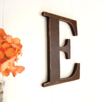 rustic brown letter E - country wooden wall sign - distressed cottage chic