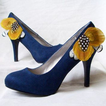 SUMMER IN HEELS Navy Blue Suede Pumps with by TheHeadbandShoppe