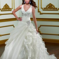 Modern Stylish design A-Line V-neck Organza straps Wedding Dress - Basadress.com