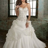 A-Line Sweet Heart Chiffon Chapel Train Wedding Dress - Basadress.com