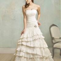 SILK-LIKE TAFFETA STRAPLESS NECKLINE A-LINE WITH CHAPEL TRAIN LUXURY WEDDING DRESS - Basadress.com