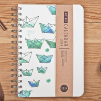 2014 Weekly Day Planner Calendar Diary Spiral A5 Origami Ships Paper Boat Journal This Day Planner - Great Valentine's Day Gift Idea
