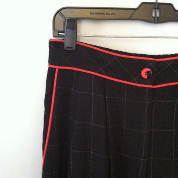 On Sale Vintage plaid pants / vintage dress pants / 1980s black plaid dress pants