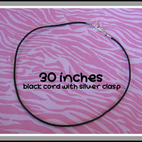 30 Inch Necklace Cord, 2mm Black Cord With Lobster Clasp, Custom Handmade Cord, Long Necklace Cord - 155