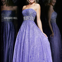 Sherri Hill 8544 - Lilac Strapless Sequin Long Prom Dresses Online