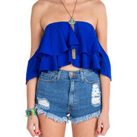 Off The Shoulder Ruffle Crop Top - Royal
