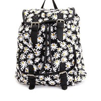 Daisy Floral Print Canvas Backpack