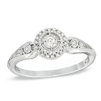 1/8 CT. T.W. Diamond Frame Ring in Sterling Silver - View All Rings - Zales