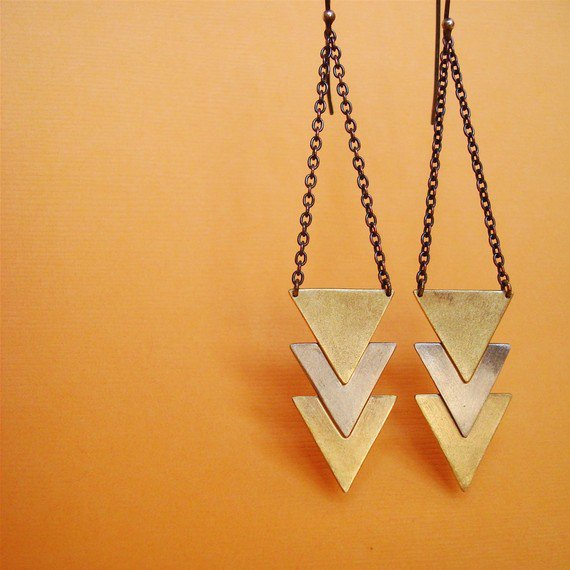 Triple arrow/ chevron earrings two tone brass and par SeeGreen