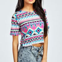 Alex Aztec Boxy Crop Top