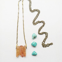 Tangerine Quartz Crystal Necklace // Orange Aura Necklace // Quartz Crystals // Minimal Necklace // Crystal Point Necklace