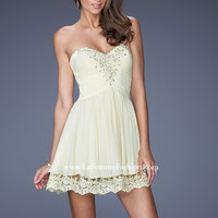 La Femme 19687 - Lemon Strapless Beaded Lace Prom Dresses Online